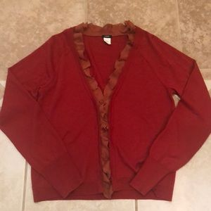 J. Crew wool cardigan with silk ruffle trim